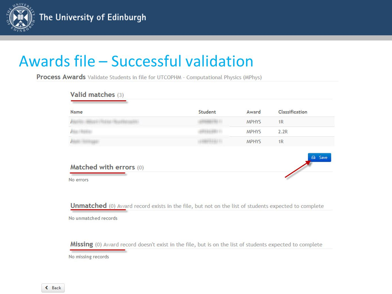 Awards file – Successful validation