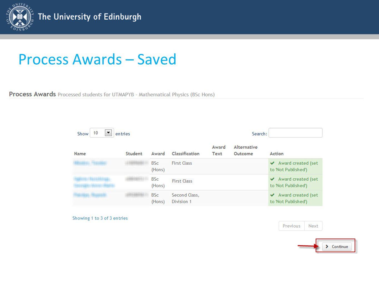 Process Awards – Saved