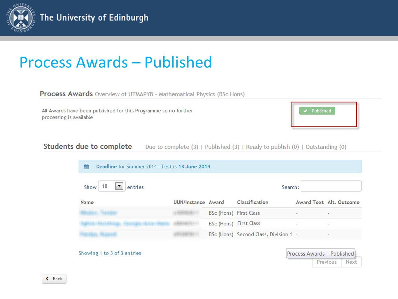 Process Awards – Published