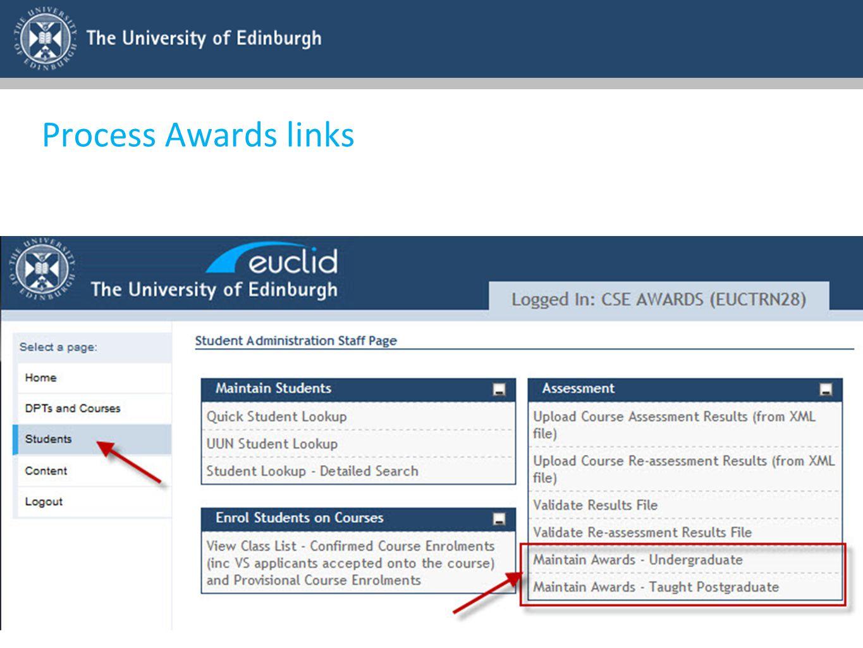 Process Awards links