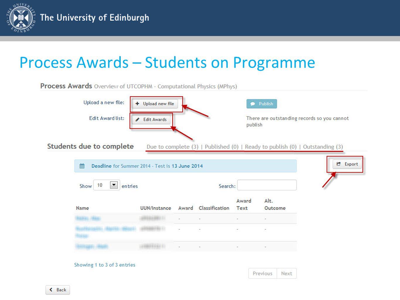 Process Awards – Students on Programme