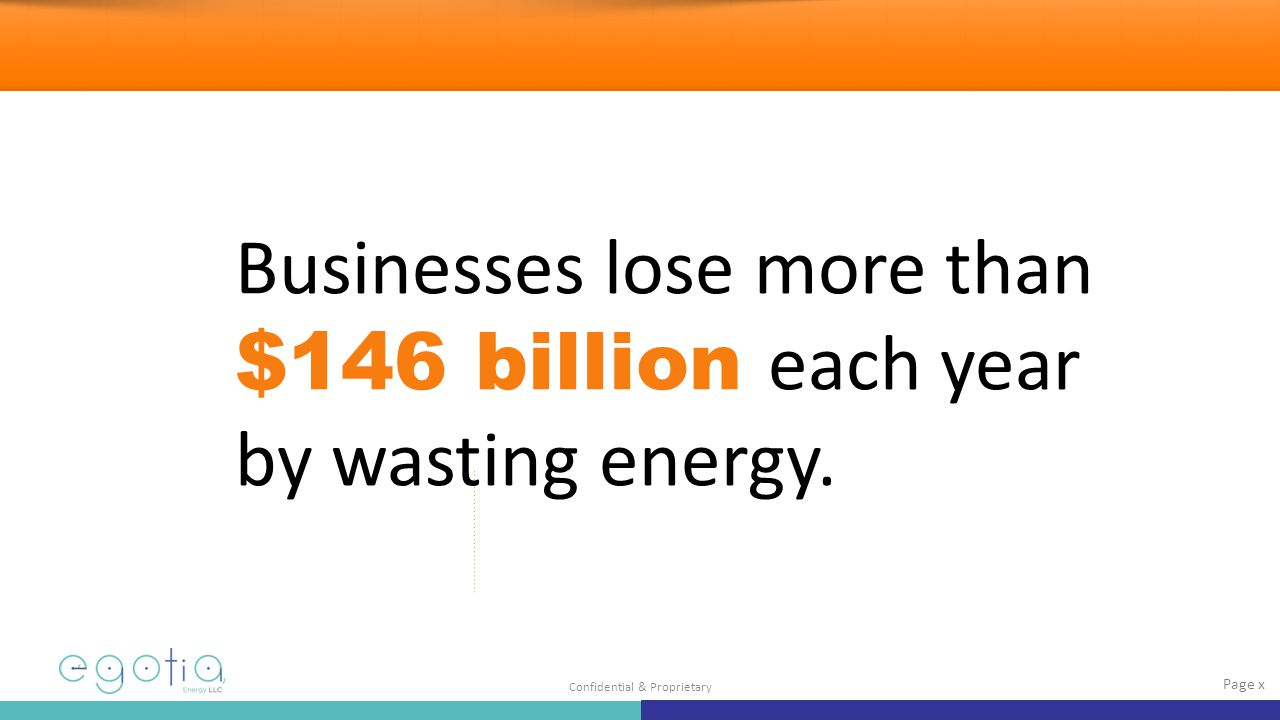 Businesses lose more than $146 billion each year by wasting energy. Page x