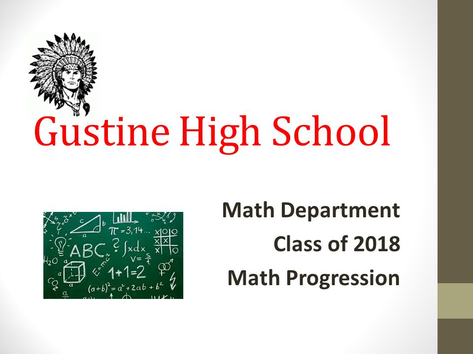 Gustine High School Math Department Class of 2018 Math Progression