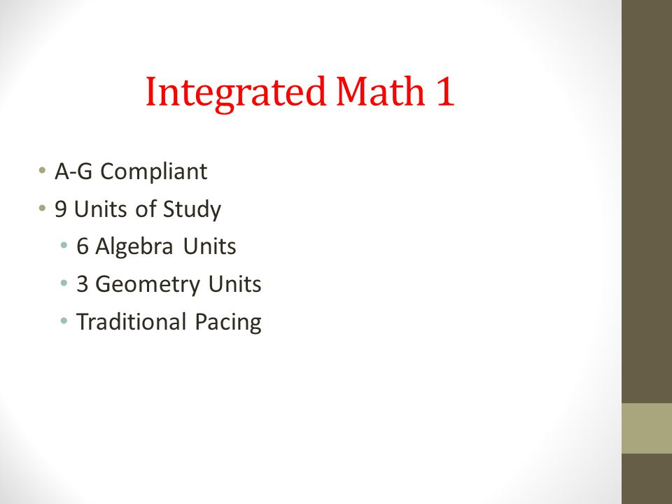 Integrated Math 1 A-G Compliant 9 Units of Study 6 Algebra Units 3 Geometry Units Traditional Pacing