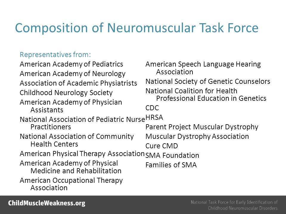 Composition of Neuromuscular Task Force Representatives from: American Academy of Pediatrics American Academy of Neurology Association of Academic Physiatrists Childhood Neurology Society American Academy of Physician Assistants National Association of Pediatric Nurse Practitioners National Association of Community Health Centers American Physical Therapy Association American Academy of Physical Medicine and Rehabilitation American Occupational Therapy Association American Speech Language Hearing Association National Society of Genetic Counselors National Coalition for Health Professional Education in Genetics CDC HRSA Parent Project Muscular Dystrophy Muscular Dystrophy Association Cure CMD SMA Foundation Families of SMA
