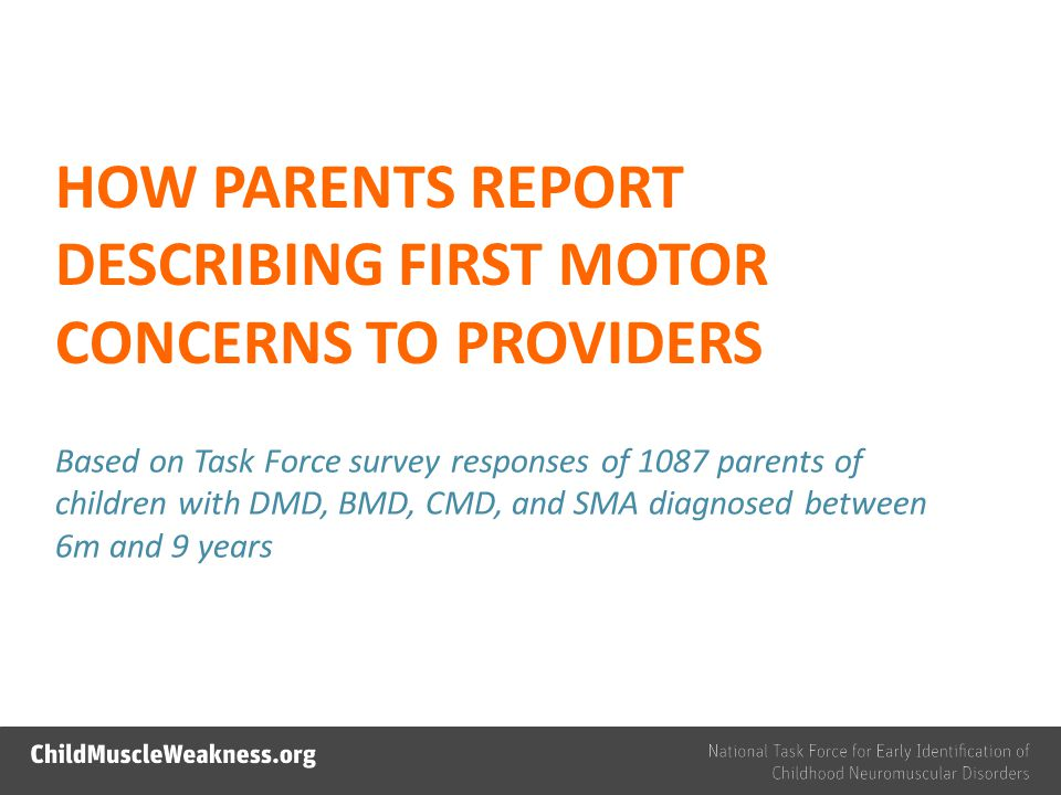 HOW PARENTS REPORT DESCRIBING FIRST MOTOR CONCERNS TO PROVIDERS Based on Task Force survey responses of 1087 parents of children with DMD, BMD, CMD, and SMA diagnosed between 6m and 9 years
