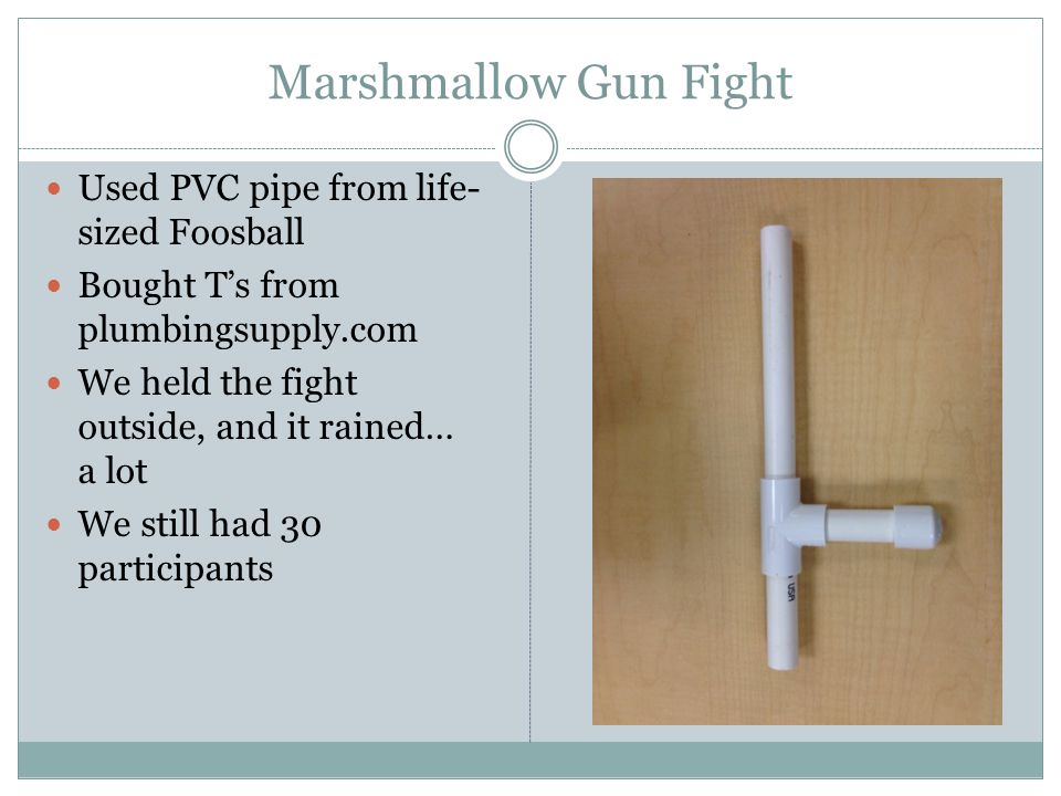 Marshmallow Gun Fight Used PVC pipe from life- sized Foosball Bought T's from plumbingsupply.com We held the fight outside, and it rained… a lot We st