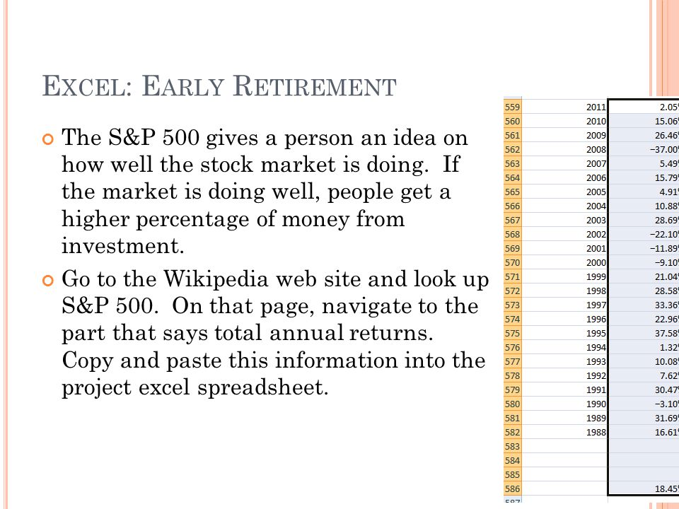 E XCEL : E ARLY R ETIREMENT The S&P 500 gives a person an idea on how well the stock market is doing.
