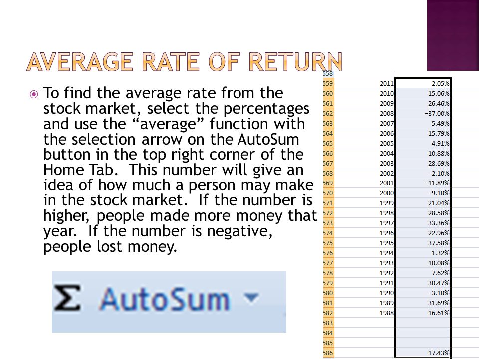  To find the average rate from the stock market, select the percentages and use the average function with the selection arrow on the AutoSum button in the top right corner of the Home Tab.