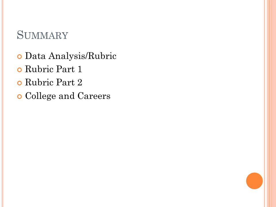 S UMMARY Data Analysis/Rubric Rubric Part 1 Rubric Part 2 College and Careers