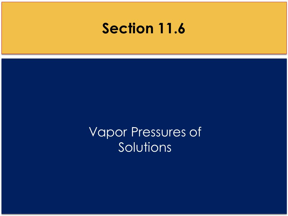 Vapor Pressures of Solutions Section 11.6