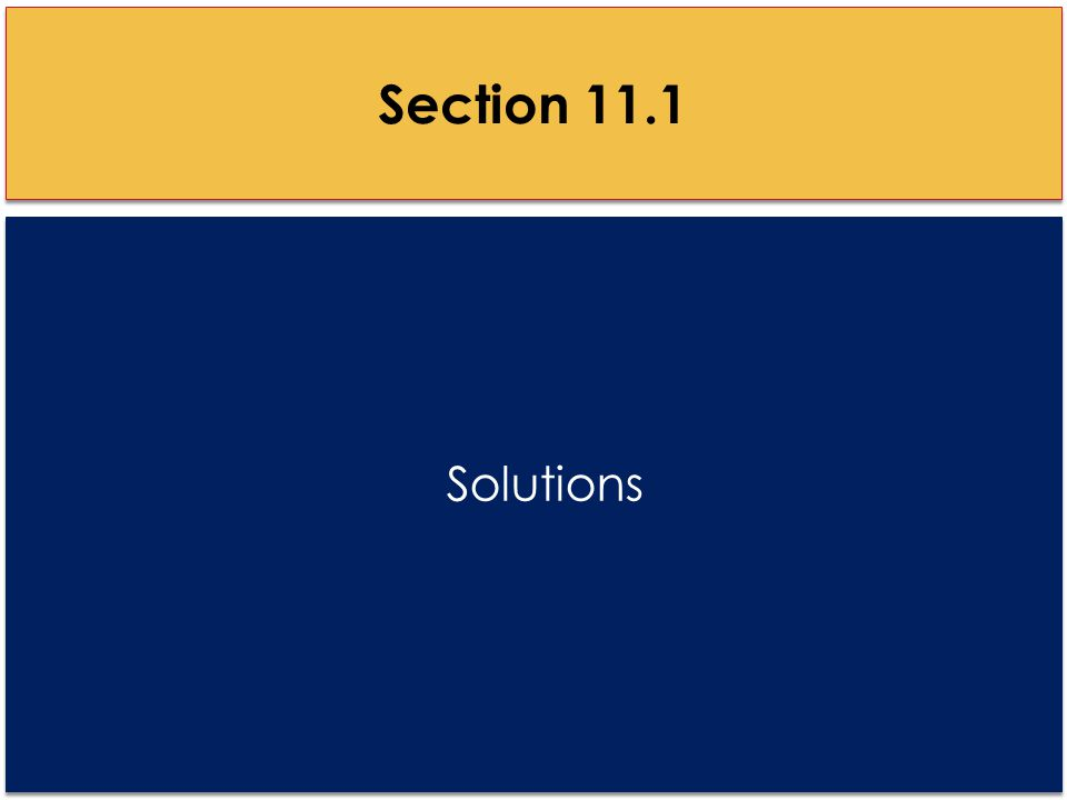 Solutions Section 11.1