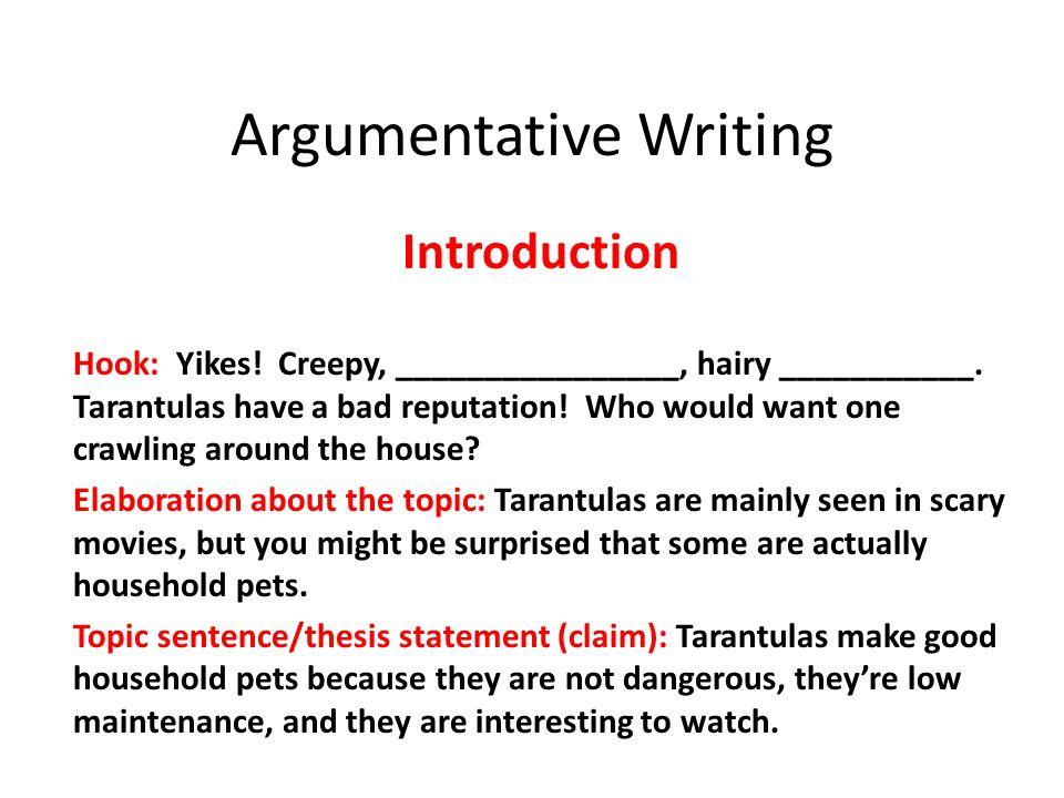 Argumentative Writing Introduction Hook: Yikes. Creepy, ________________, hairy ___________.