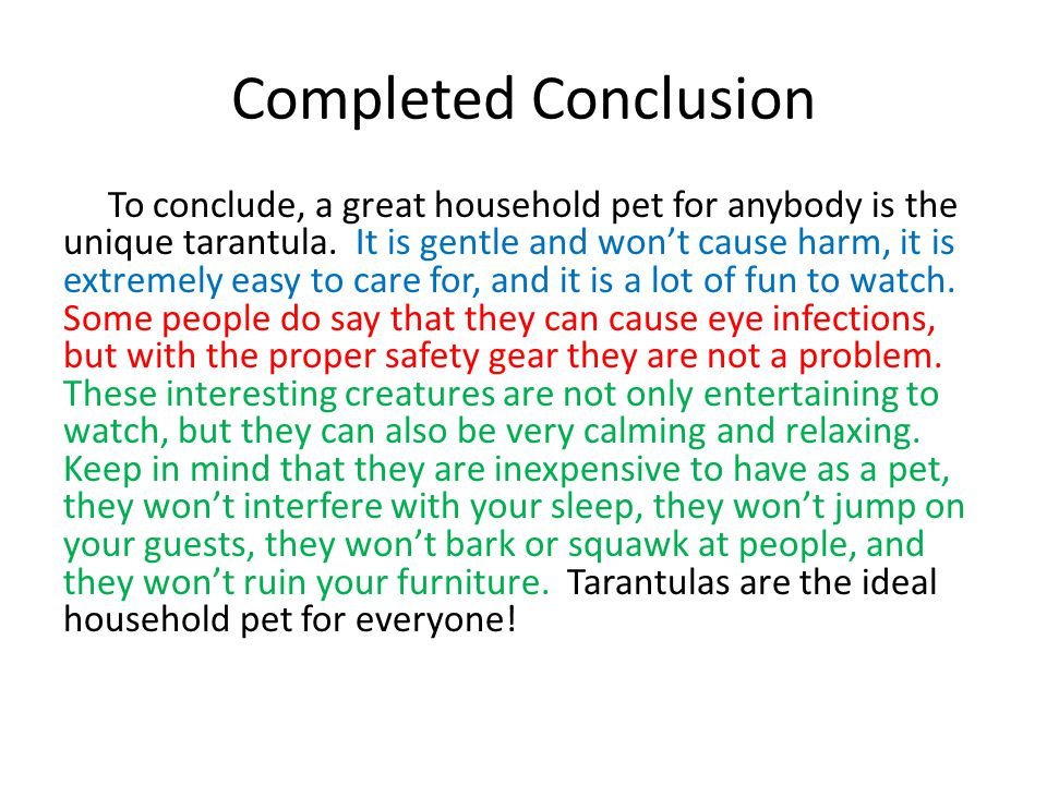 Completed Conclusion To conclude, a great household pet for anybody is the unique tarantula. It is gentle and won't cause harm, it is extremely easy t