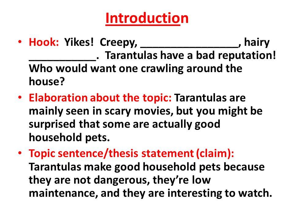 Introduction Hook: Yikes. Creepy, ________________, hairy ___________.