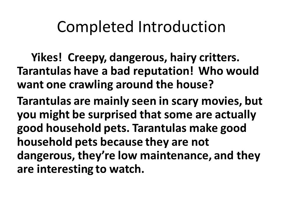 Completed Introduction Yikes. Creepy, dangerous, hairy critters.