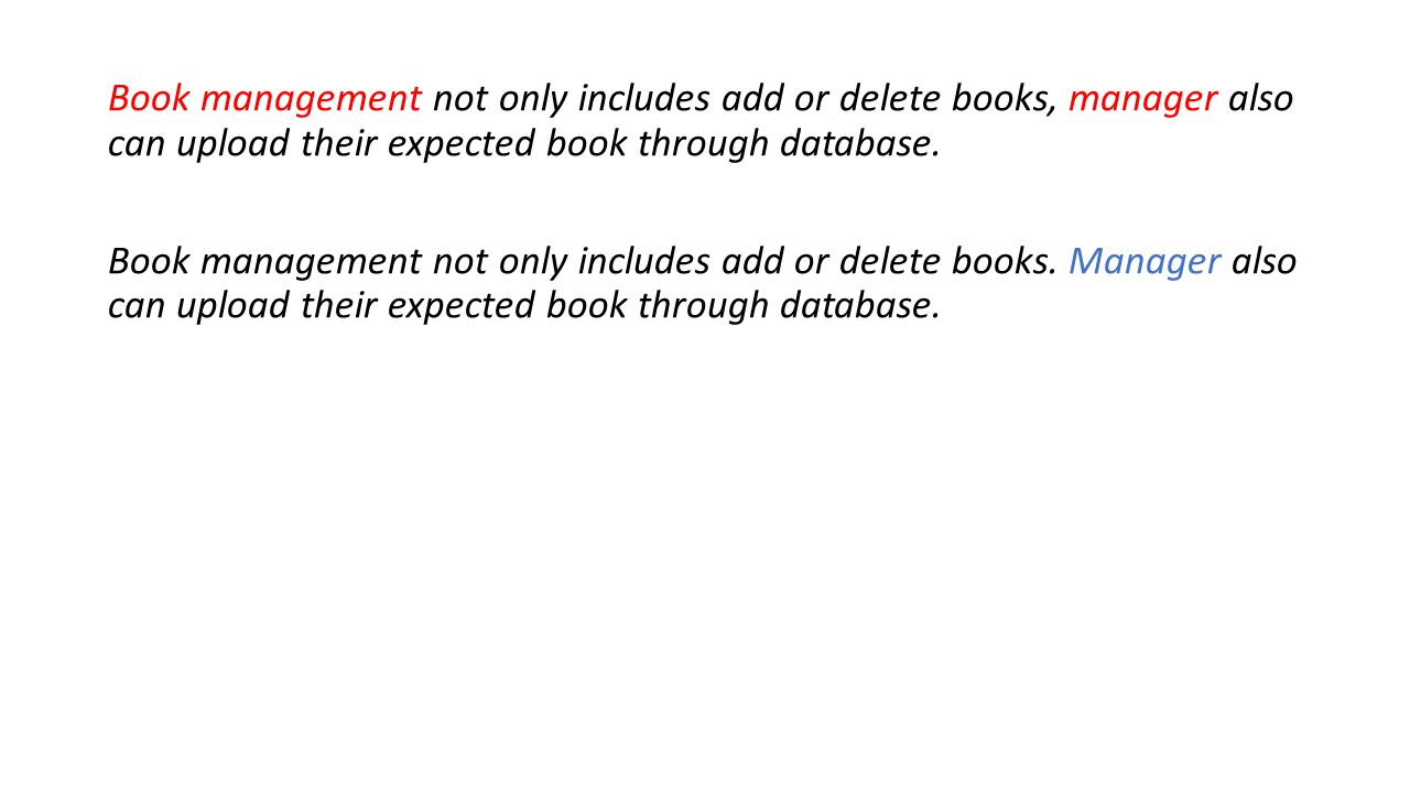 Book management not only includes add or delete books, manager also can upload their expected book through database.