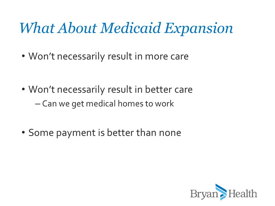 Won't necessarily result in more care Won't necessarily result in better care – Can we get medical homes to work Some payment is better than none What
