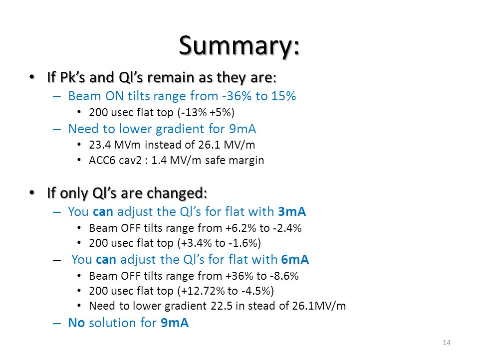 Summary: If Pk's and Ql's remain as they are: If Pk's and Ql's remain as they are: – Beam ON tilts range from -36% to 15% 200 usec flat top (-13% +5%) – Need to lower gradient for 9mA 23.4 MVm instead of 26.1 MV/m ACC6 cav2 : 1.4 MV/m safe margin If only Ql's are changed: If only Ql's are changed: – You can adjust the Ql's for flat with 3mA Beam OFF tilts range from +6.2% to -2.4% 200 usec flat top (+3.4% to -1.6%) – You can adjust the Ql's for flat with 6mA Beam OFF tilts range from +36% to -8.6% 200 usec flat top (+12.72% to -4.5%) Need to lower gradient 22.5 in stead of 26.1MV/m – No solution for 9mA 14