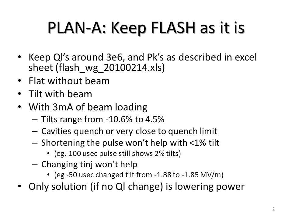 PLAN B: use low Ql's, keep Pk's 13