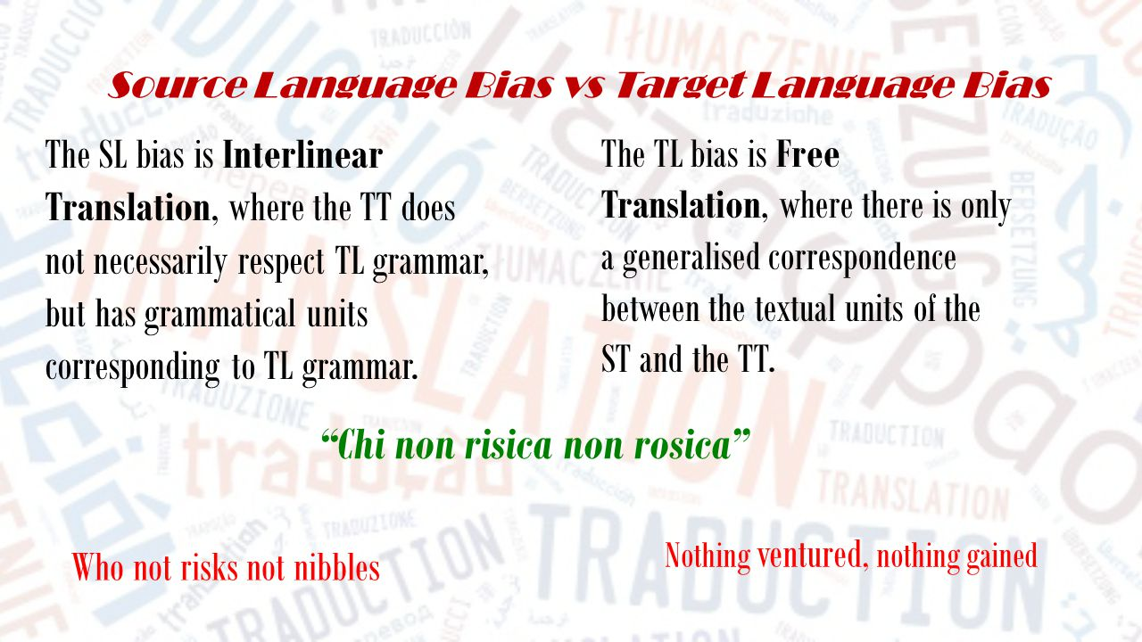 Source Language Bias vs Target Language Bias The SL bias is Interlinear Translation, where the TT does not necessarily respect TL grammar, but has grammatical units corresponding to TL grammar.