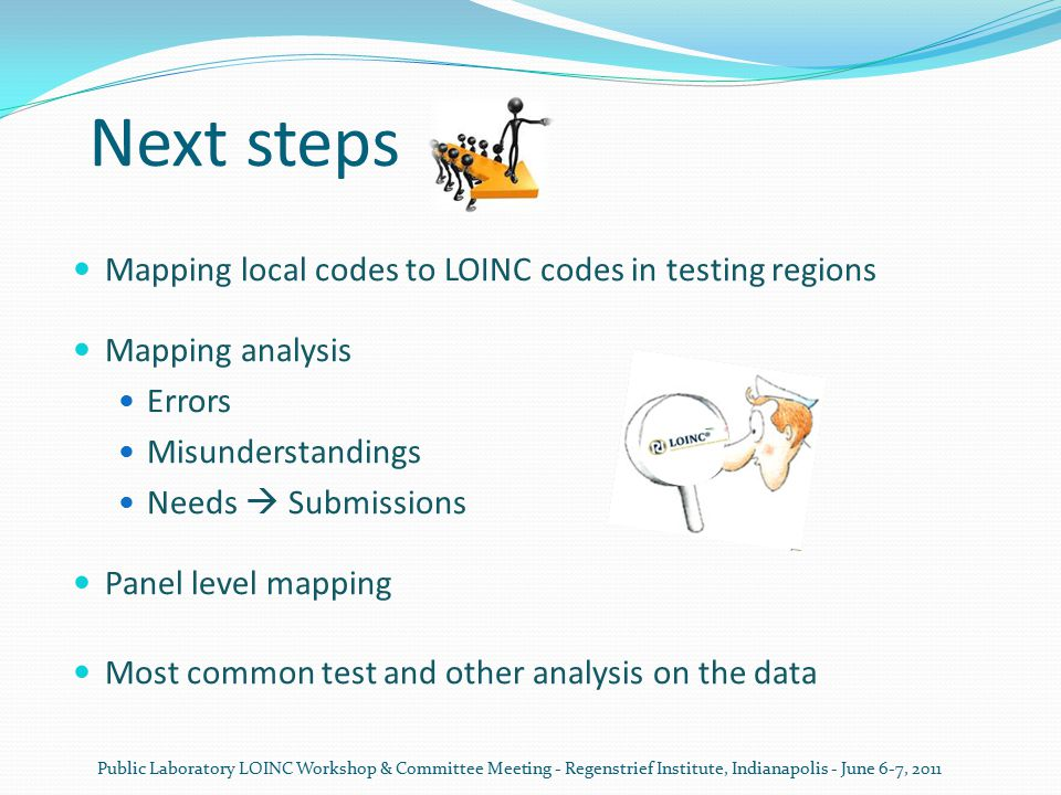 Next steps Mapping local codes to LOINC codes in testing regions Mapping analysis Errors Misunderstandings Needs  Submissions Panel level mapping Mos