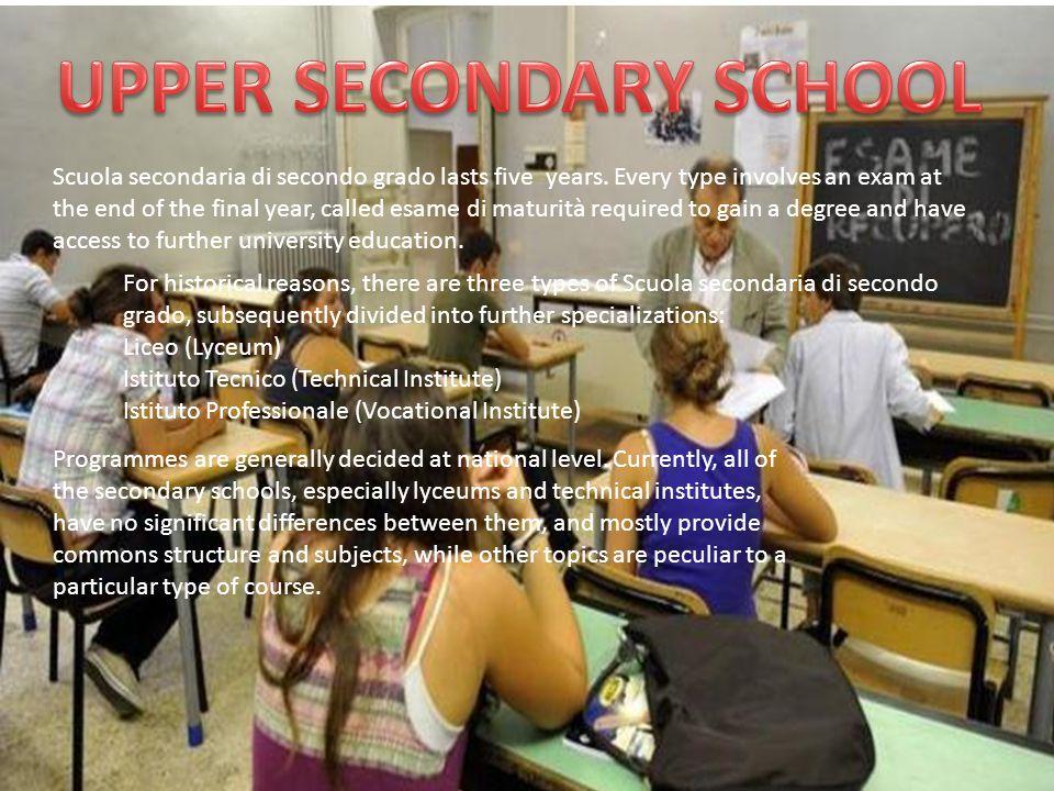 Scuola secondaria di secondo grado lasts five years. Every type involves an exam at the end of the final year, called esame di maturità required to ga