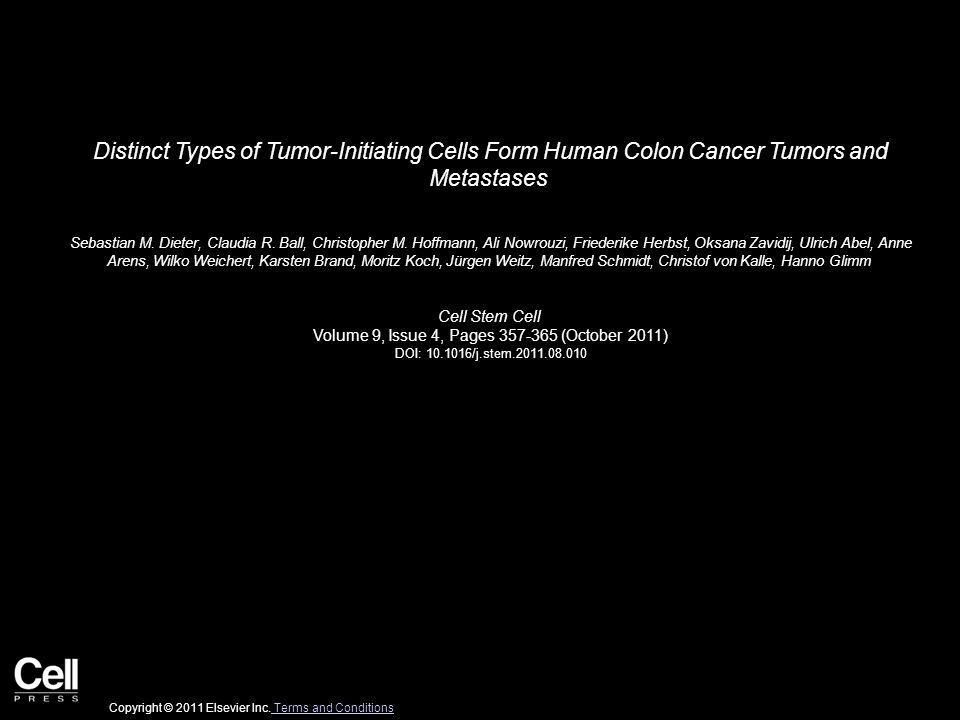 Distinct Types of Tumor-Initiating Cells Form Human Colon Cancer Tumors and Metastases Sebastian M. Dieter, Claudia R. Ball, Christopher M. Hoffmann,