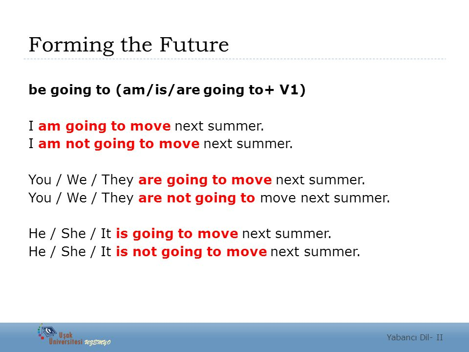 Forming the Future be going to (am/is/are going to+ V1) I am going to move next summer.