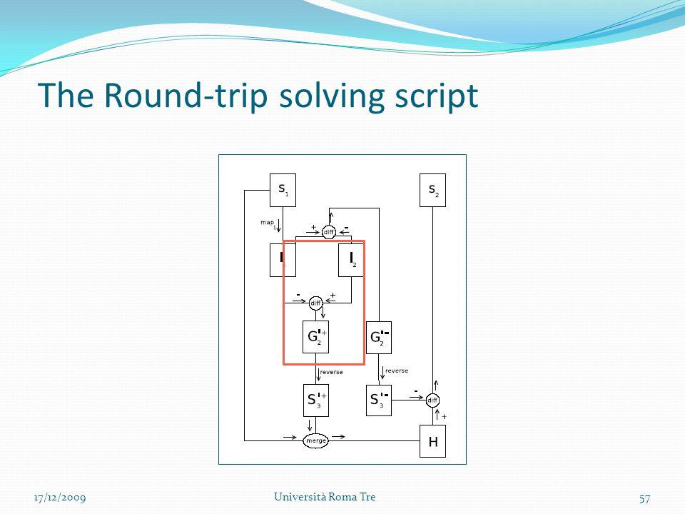 The Round-trip solving script 57Università Roma Tre17/12/2009
