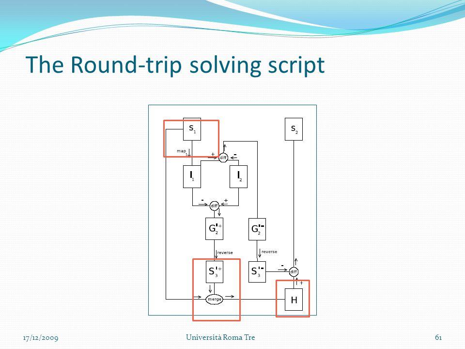 The Round-trip solving script 61Università Roma Tre17/12/2009