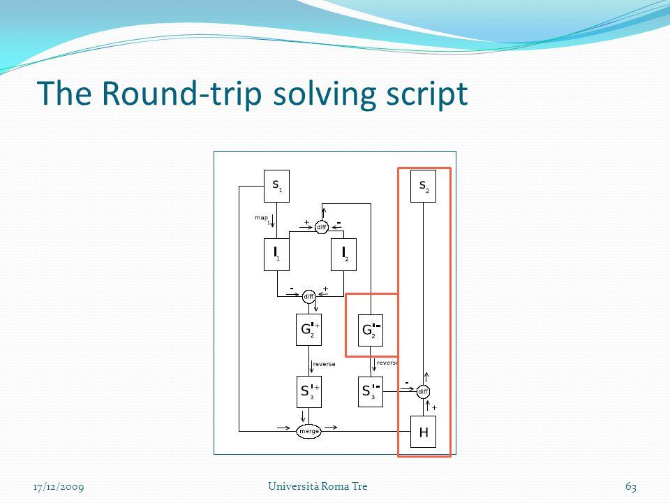 The Round-trip solving script 63Università Roma Tre17/12/2009