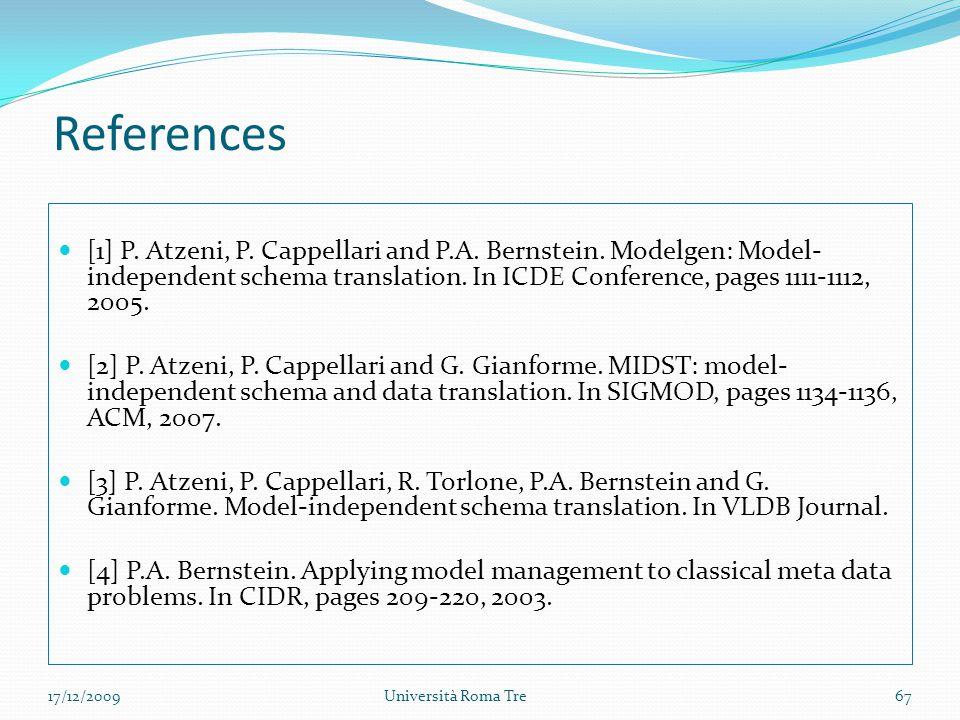 References [1] P.Atzeni, P. Cappellari and P.A. Bernstein.