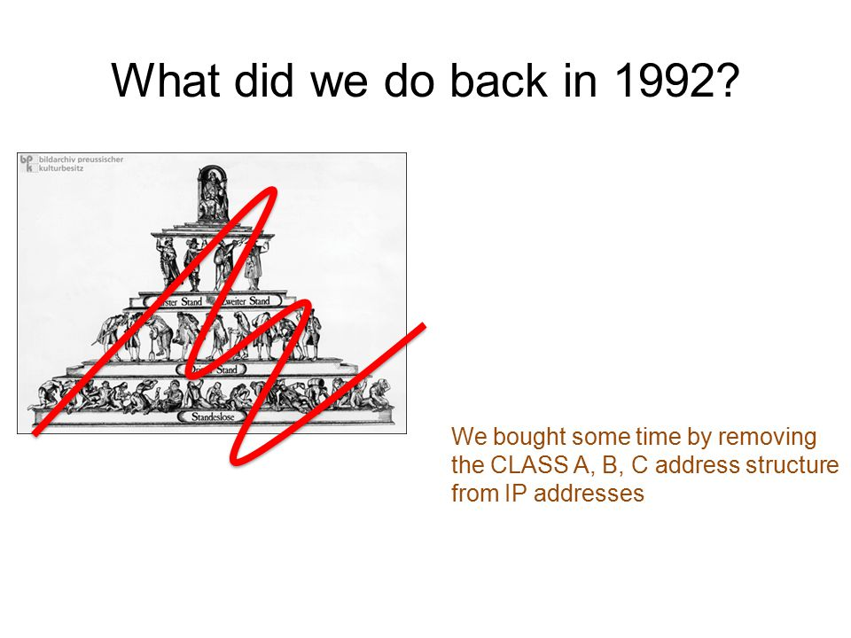 We bought some time by removing the CLASS A, B, C address structure from IP addresses