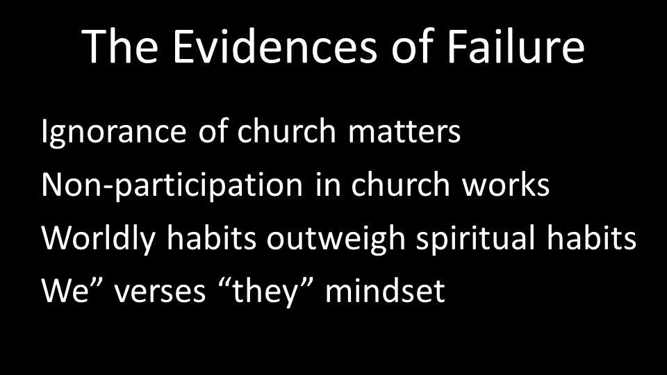 The Evidences of Failure