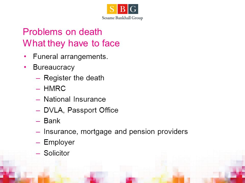 Problems on death What they have to face Funeral arrangements.