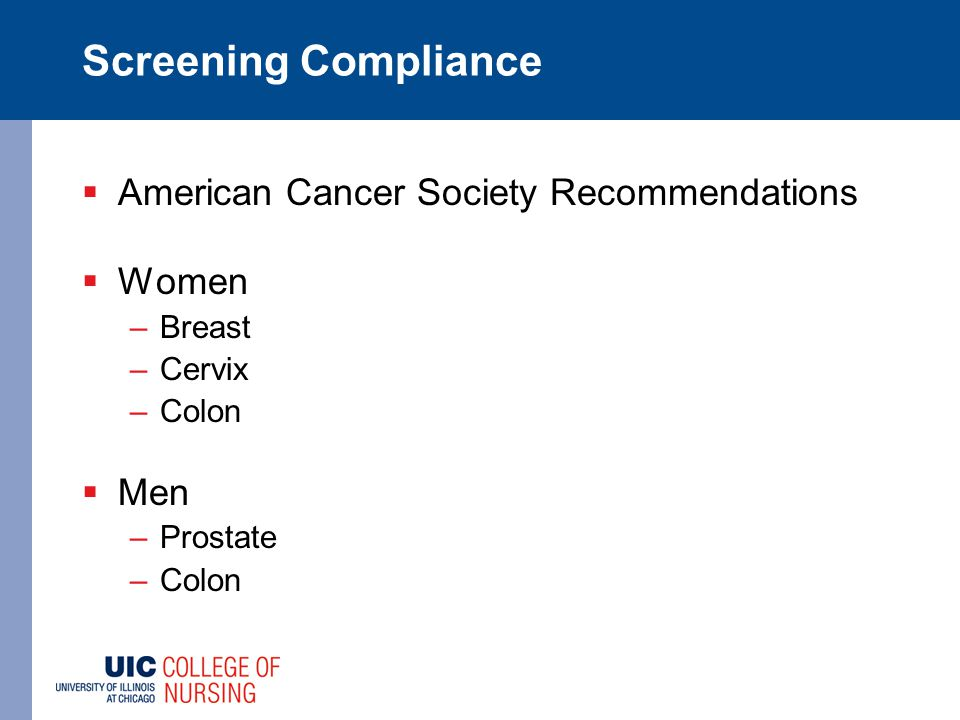 Screening Compliance  American Cancer Society Recommendations  Women –Breast –Cervix –Colon  Men –Prostate –Colon