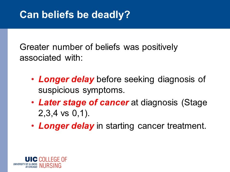 Can beliefs be deadly? Greater number of beliefs was positively associated with: Longer delay before seeking diagnosis of suspicious symptoms. Later s