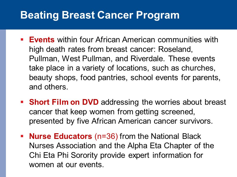 Beating Breast Cancer Program  Events within four African American communities with high death rates from breast cancer: Roseland, Pullman, West Pull