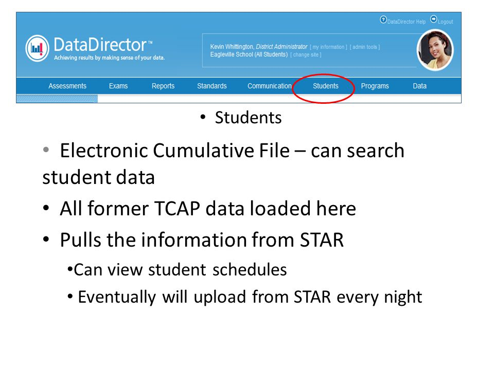 Electronic Cumulative File – can search student data All former TCAP data loaded here Pulls the information from STAR Can view student schedules Event
