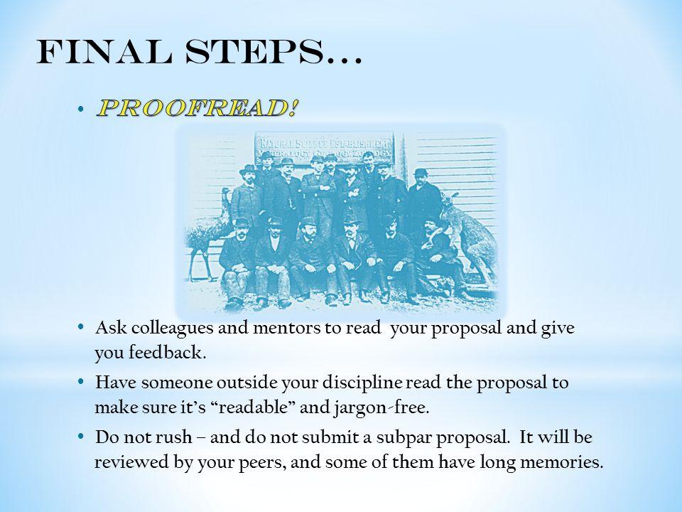 Final Steps…