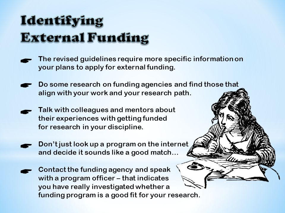 The revised guidelines require more specific information on your plans to apply for external funding. Do some research on funding agencies and find th
