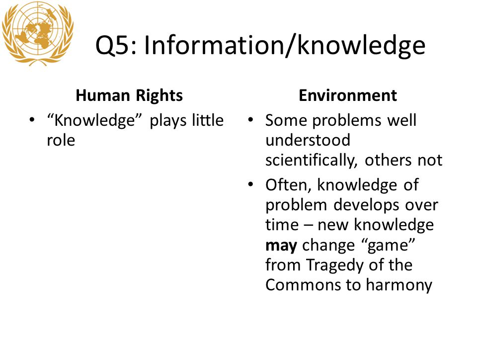 Q5: Information/knowledge Human Rights Knowledge plays little role Environment Some problems well understood scientifically, others not Often, knowledge of problem develops over time – new knowledge may change game from Tragedy of the Commons to harmony