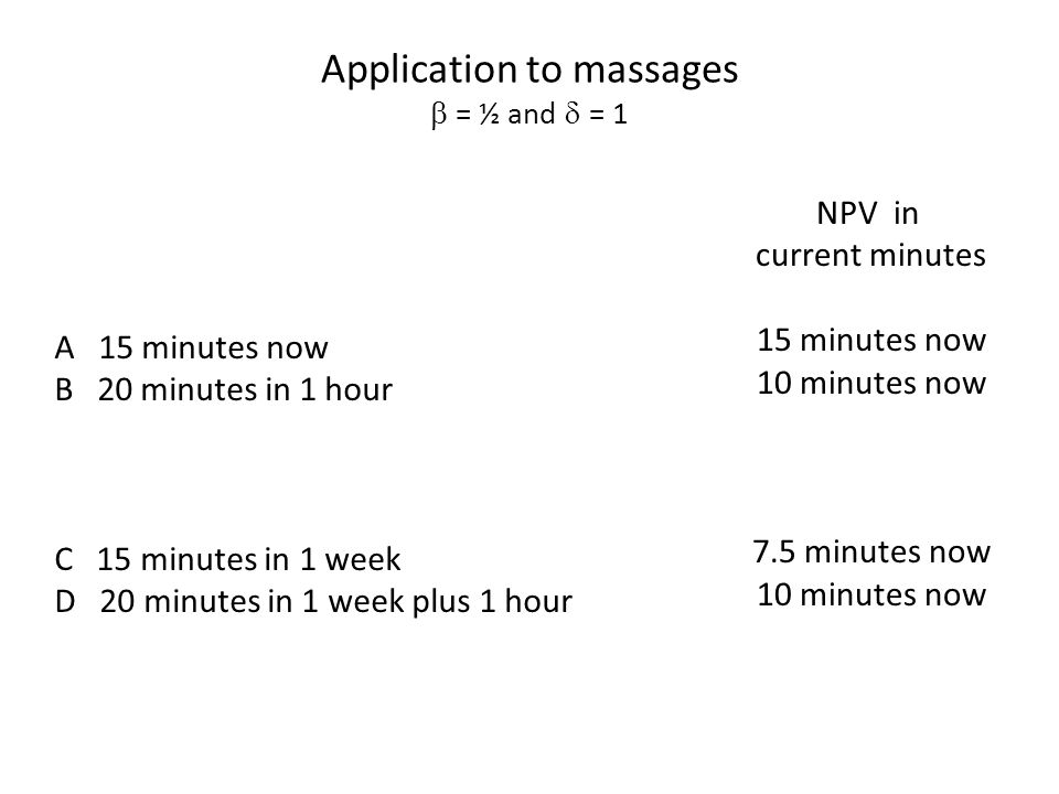 Application to massages  = ½ and  = 1 A 15 minutes now B 20 minutes in 1 hour C 15 minutes in 1 week D 20 minutes in 1 week plus 1 hour NPV in current minutes 15 minutes now 10 minutes now 7.5 minutes now 10 minutes now
