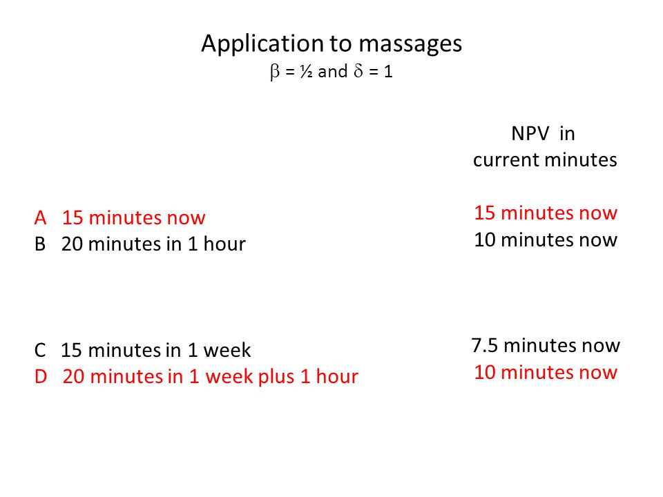 Application to massages  = ½ and  = 1 A 15 minutes now B 20 minutes in 1 hour C 15 minutes in 1 week D 20 minutes in 1 week plus 1 hour NPV in curr