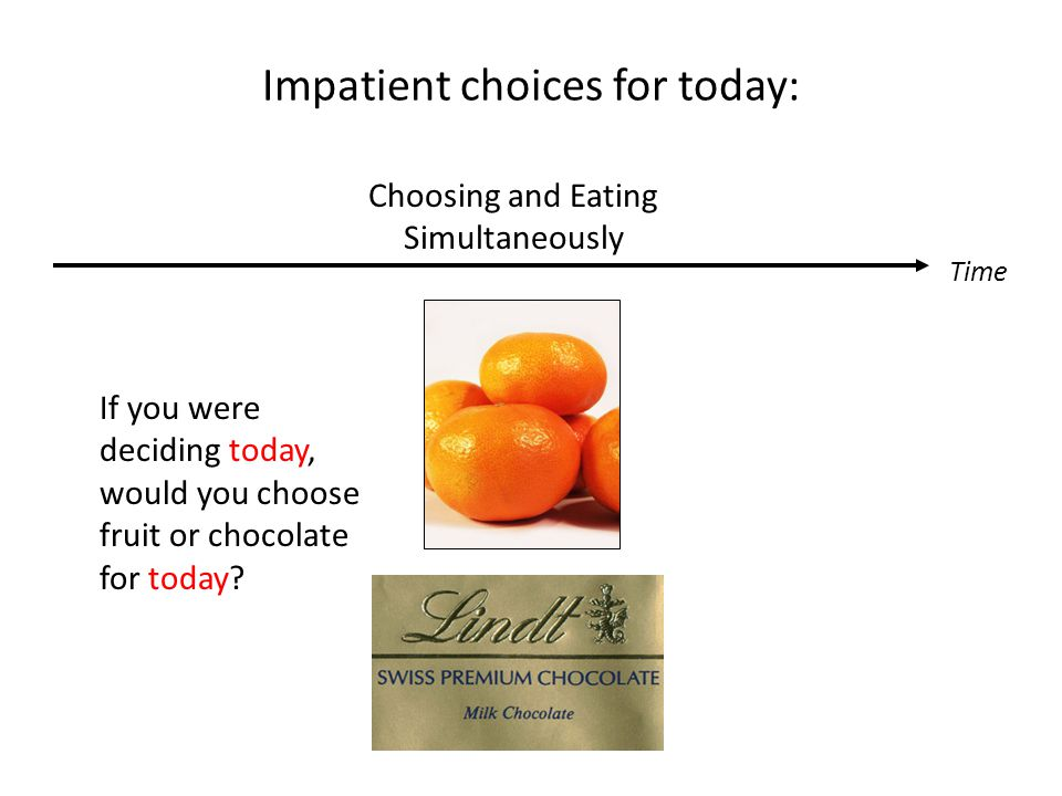 Impatient choices for today: Time Choosing and Eating Simultaneously If you were deciding today, would you choose fruit or chocolate for today?