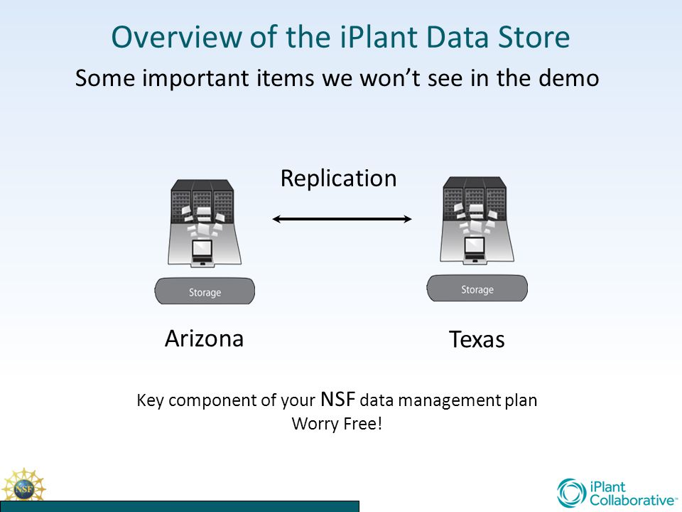 Overview of the iPlant Data Store Some important items we won't see in the demo Texas Replication Arizona Key component of your NSF data management plan Worry Free!