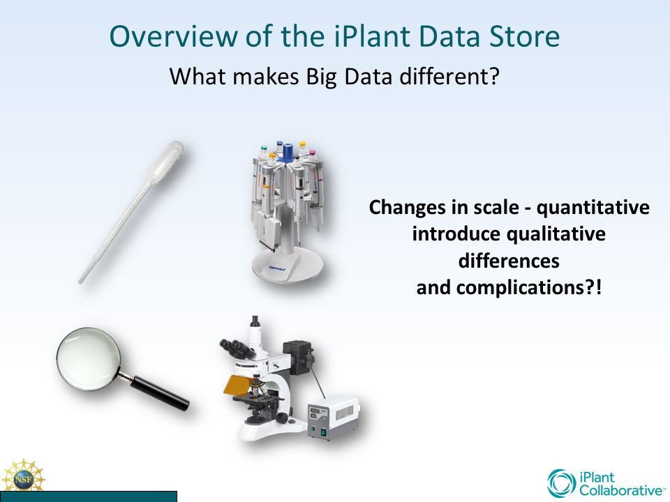 Overview of the iPlant Data Store What makes Big Data different.