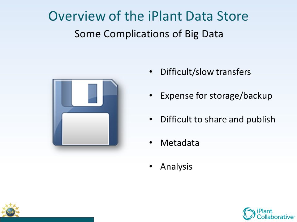 Overview of the iPlant Data Store Some Complications of Big Data Difficult/slow transfers Expense for storage/backup Difficult to share and publish Metadata Analysis