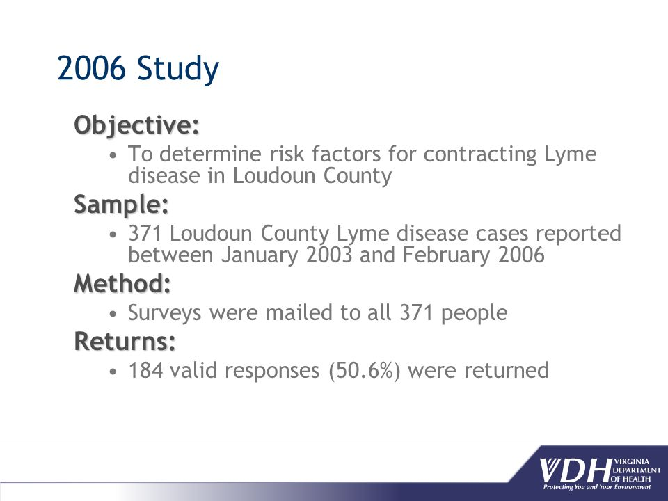 2006 Study Objective: To determine risk factors for contracting Lyme disease in Loudoun CountySample: 371 Loudoun County Lyme disease cases reported between January 2003 and February 2006Method: Surveys were mailed to all 371 peopleReturns: 184 valid responses (50.6%) were returned